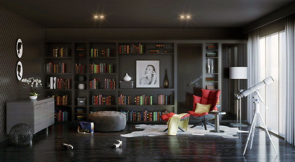 تصاميم مكاتب داكنة اللون أفكار لتصميم مكتبات منزلية عصرية
