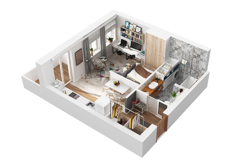 تصميم شقة صغيرة1 أفكار ممتازة للمساحات الصغيرة في تصميم شقة سكنية رائعة