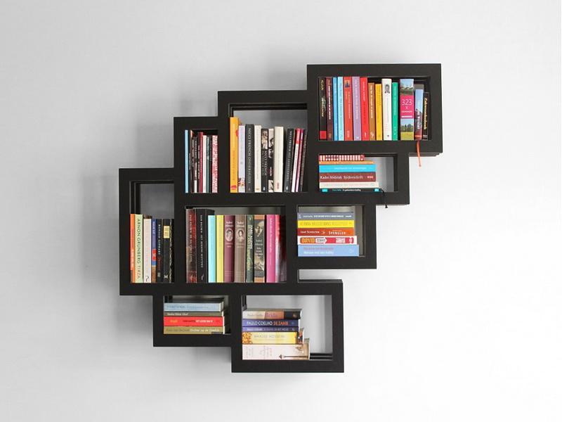 تصميم مكتبة معلقة مربعة أفكار لتصميم مكتبات منزلية عصرية