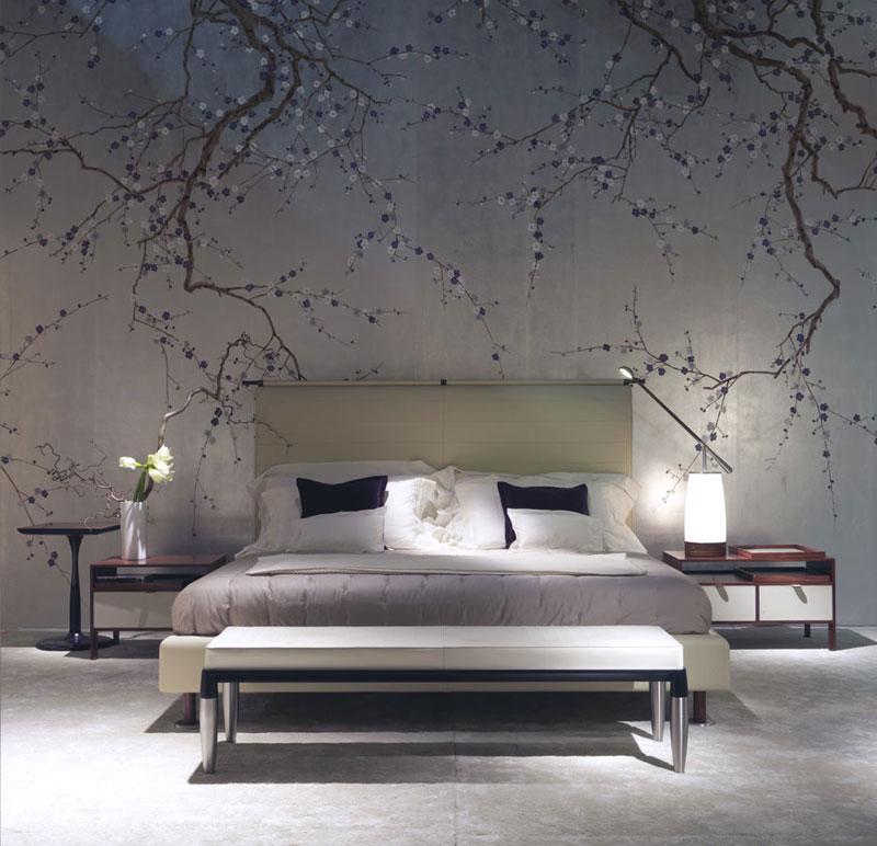 حائط غرفة نوم مزخرف بالزهور 2 كيف تحولين حوائط منزلك للوحات فنية مبهرة؟
