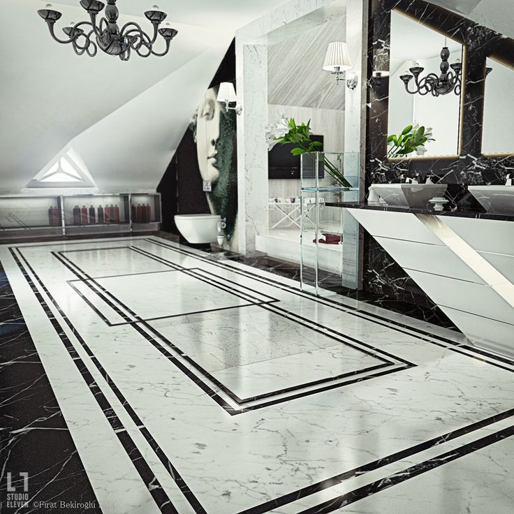 حمام أبيض و أسود 1 الأبيض والأسود.. أناقة وتميز في حمامك