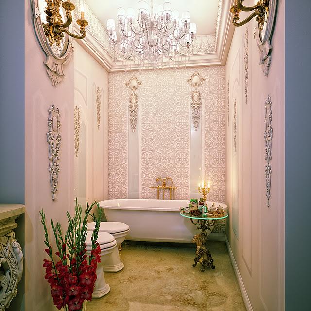 حمام بأبليكات للحوائط 2 5 حمامات ملكية لعشاق الفخامة