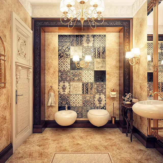 حمام ببلاطات منقوشة 1 5 حمامات ملكية لعشاق الفخامة