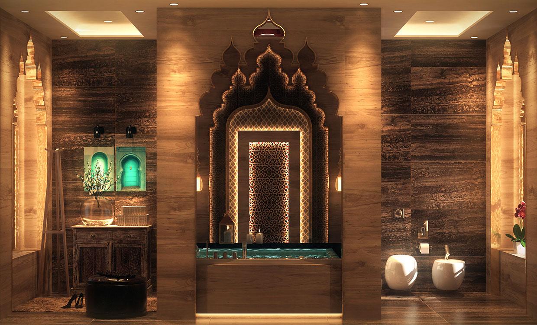 حمام بديكورات شرقية 1 10 حمامات فخمة بلمسات عربية مبهرة
