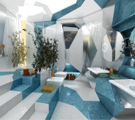 حمام بديكورات هندسية 1ا