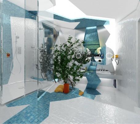 حمام بديكورات هندسية 1