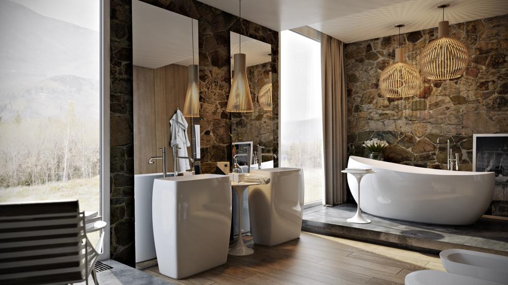 حمام ذو حوائط حجرية 1ا 10 حمامات فخمة بديكورات حجرية رائعة