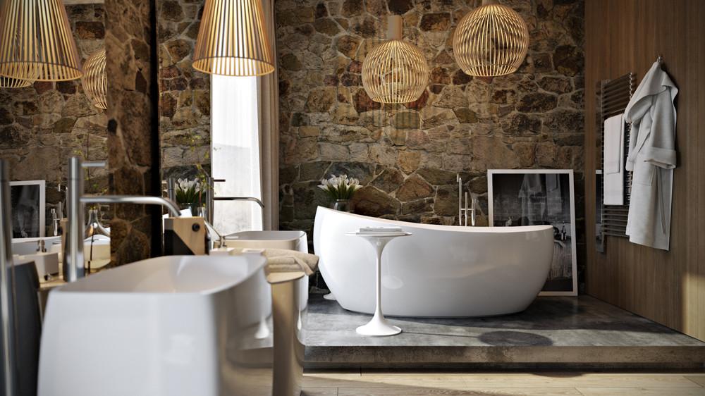 حمام ذو حوائط حجرية 1 10 حمامات فخمة بديكورات حجرية رائعة