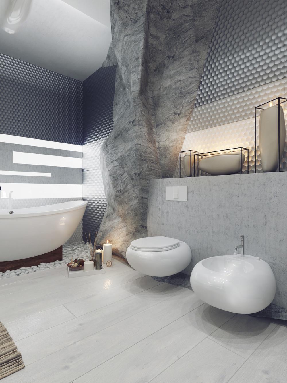 حمام ذو حوائط حجرية 3ا1 10 حمامات فخمة بديكورات حجرية رائعة