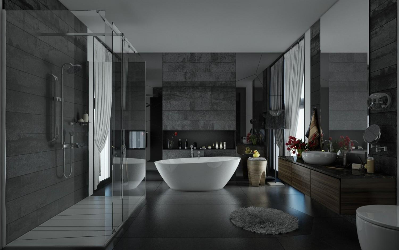 حمام ذو حوائط حجرية 8 1500x938 10 حمامات فخمة بديكورات حجرية رائعة