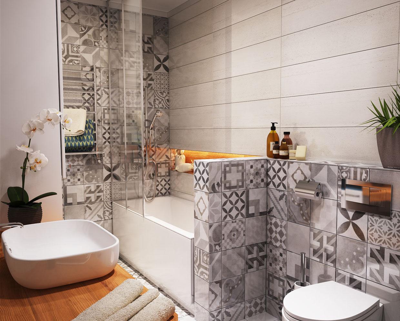 حمام صغير 1 أفكار ممتازة للمساحات الصغيرة في تصميم شقة سكنية رائعة