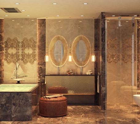 الرقي والجمال في تصميمات حمامات عصرية بتفاصيل كلاسيكية