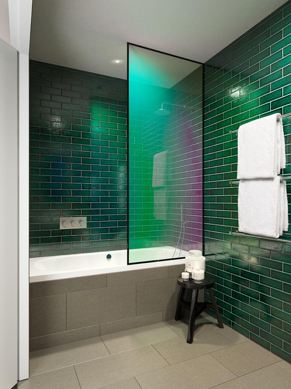 حمام مودرن 1ا جرأة وروعة الألوان في تصميم وحدات سكنية عصرية