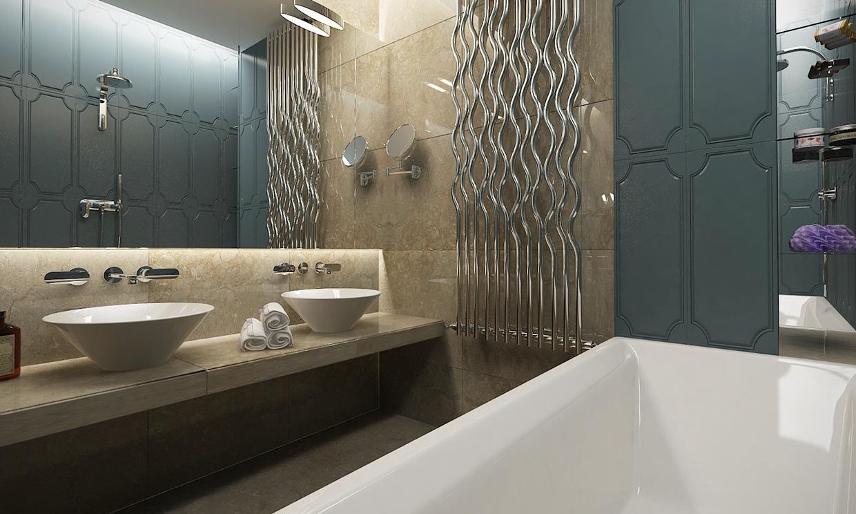 حمام مودرن 1 منزل عصري يجمع الديكور المودرن بلمسات من القصور الإغريقية
