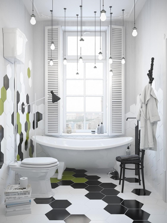 حمام مودرن 1125x1500 الأبيض والرمادي.. مزيج أنيق في منزل عصري رائع.