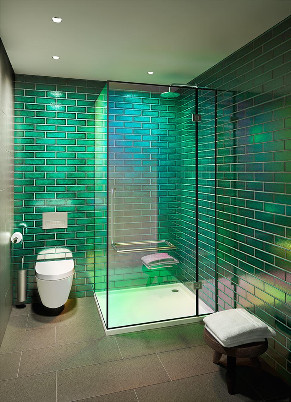 حمام مودرن 12 جرأة وروعة الألوان في تصميم وحدات سكنية عصرية
