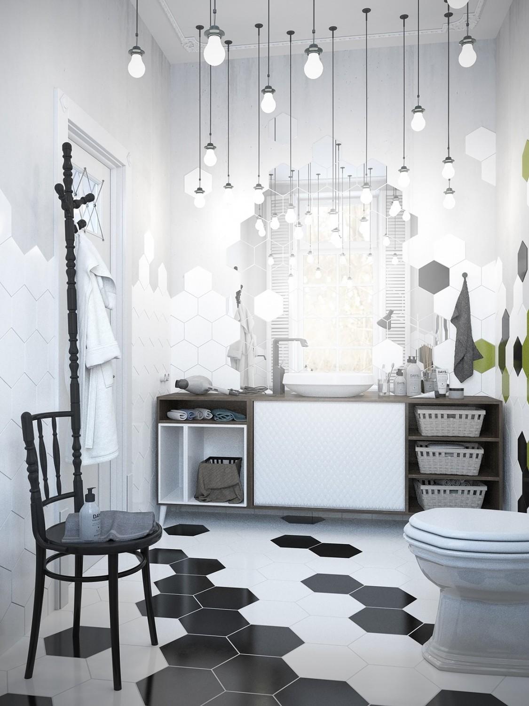 حمام مودرن 21 1125x1500 الأبيض والرمادي.. مزيج أنيق في منزل عصري رائع.