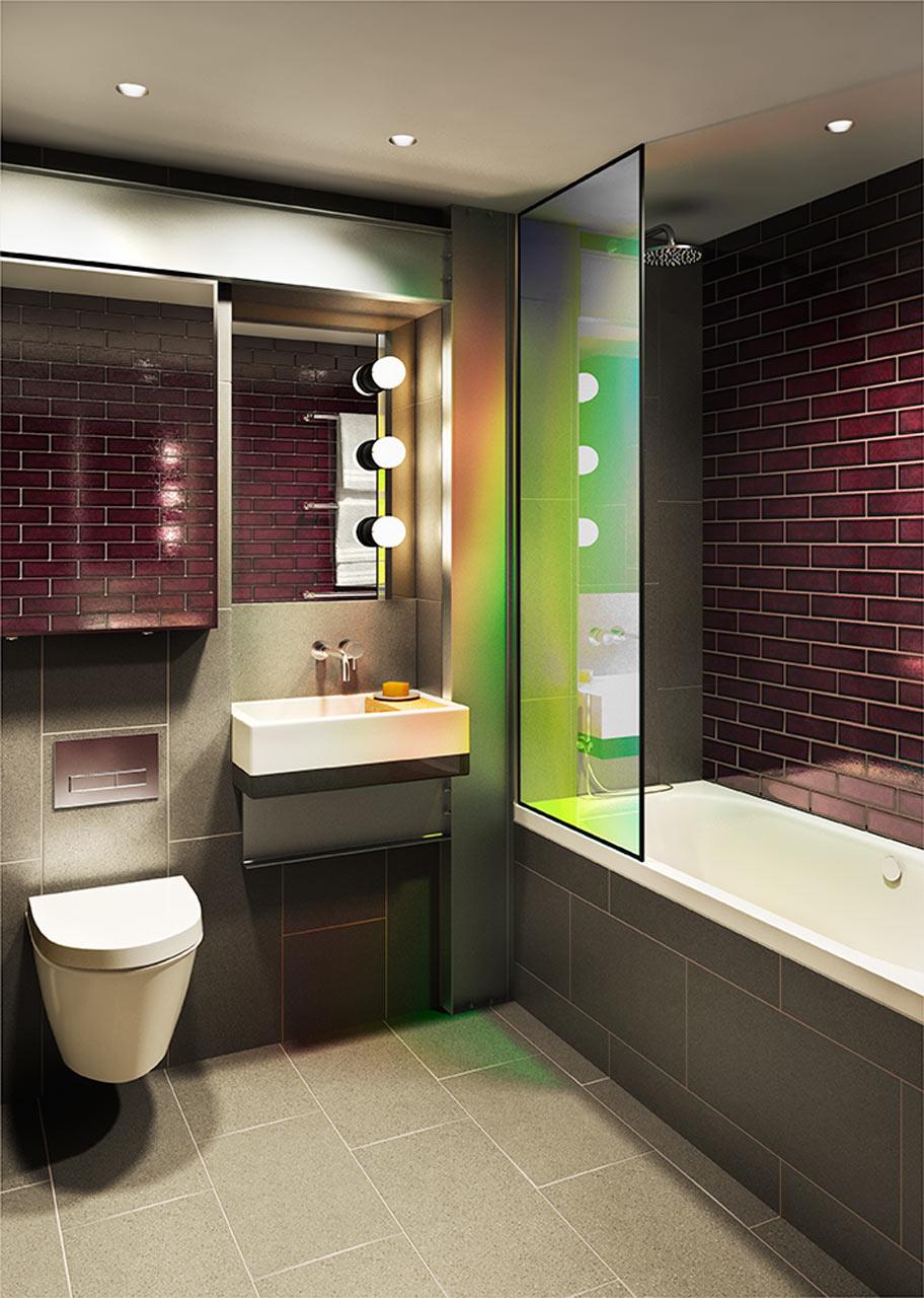 حمام مودرن 23 جرأة وروعة الألوان في تصميم وحدات سكنية عصرية