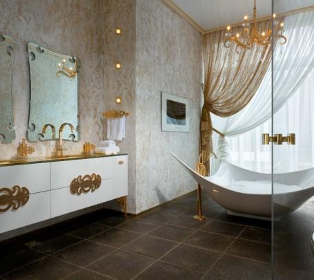 حمام يمزج الأبيض والذهبي 2