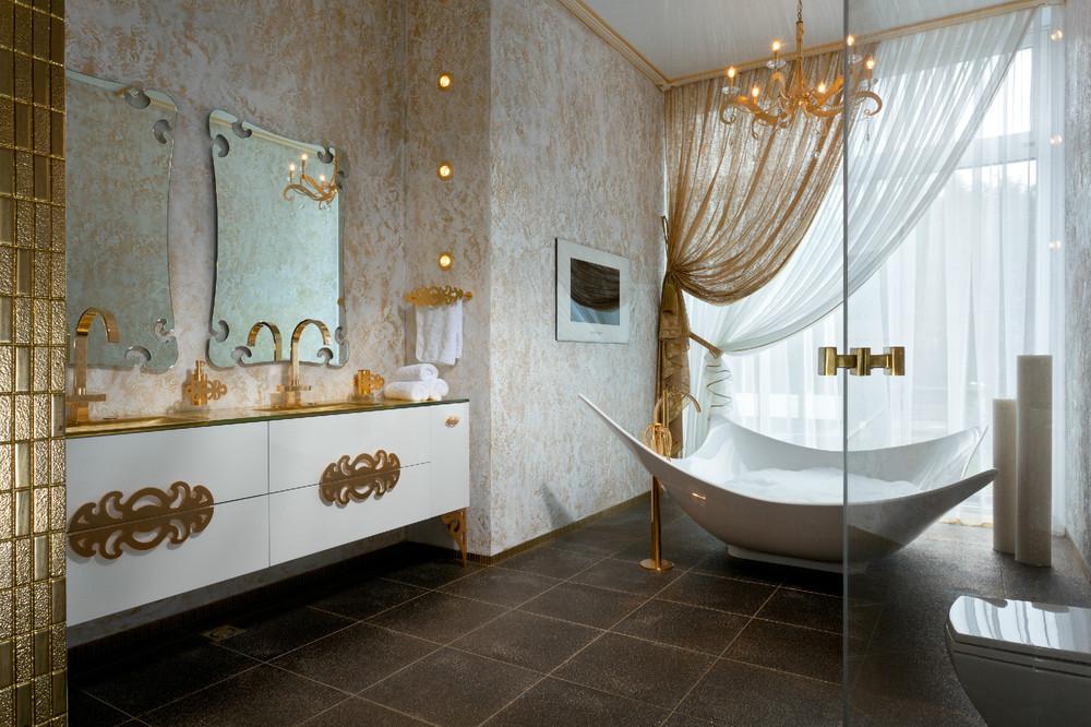 حمام يمزج الأبيض والذهبي 2 5 حمامات ملكية لعشاق الفخامة