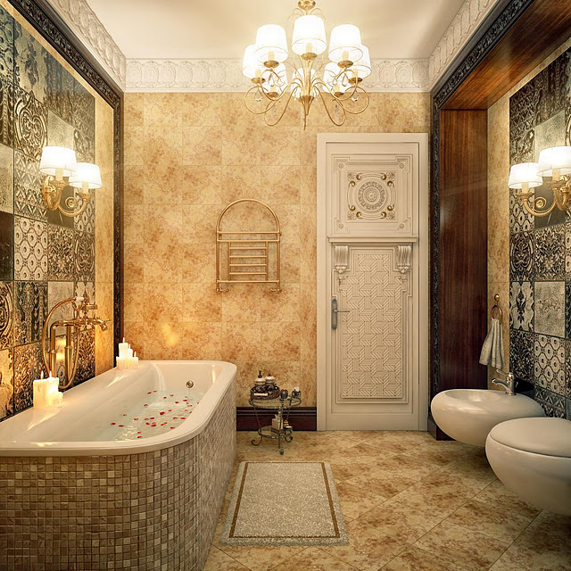 حوض استحمام موزاييك 5 حمامات ملكية لعشاق الفخامة