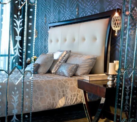 سرير بظهر عالي مبطن 3