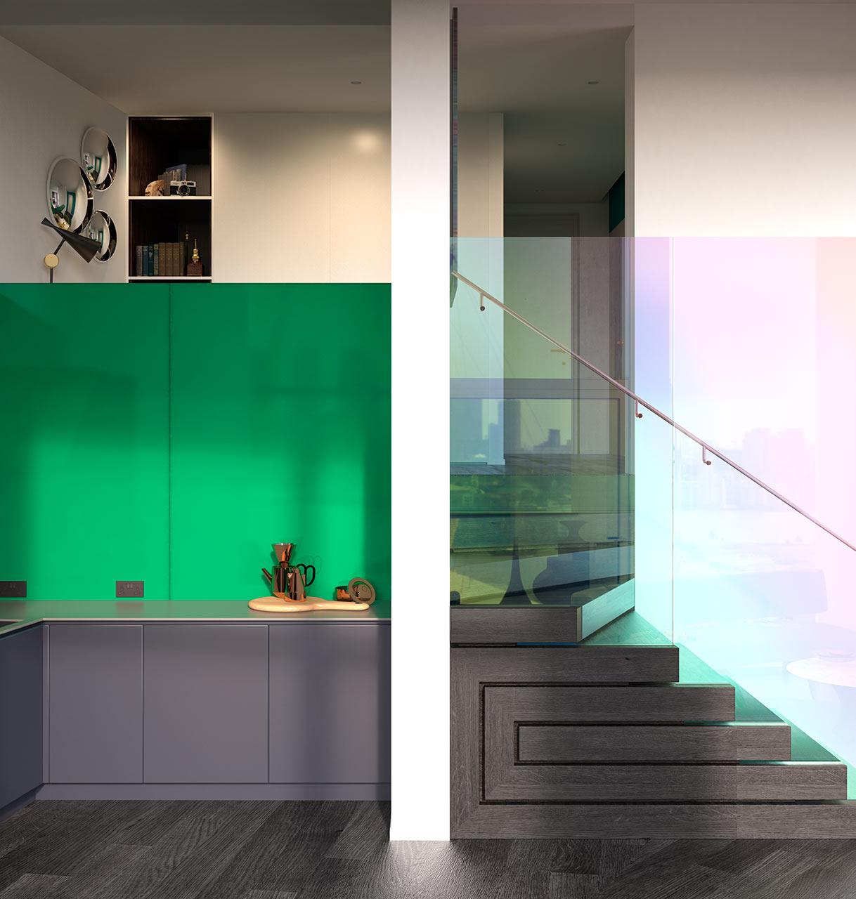 سلم بتصميم متميز جرأة وروعة الألوان في تصميم وحدات سكنية عصرية