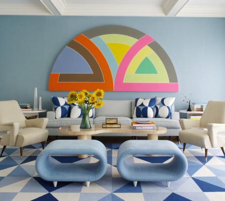 15 غرفة جلوس رائعة لمحبي اللون الأزرق
