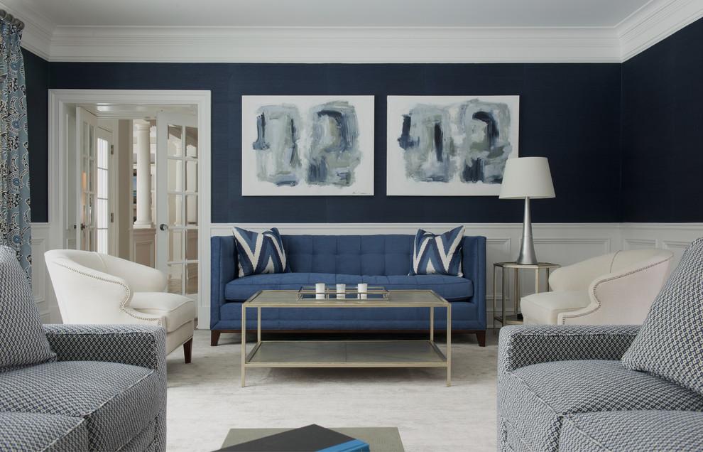 غرفة جلوس زرقاء 7 15 غرفة جلوس رائعة لمحبي اللون الأزرق