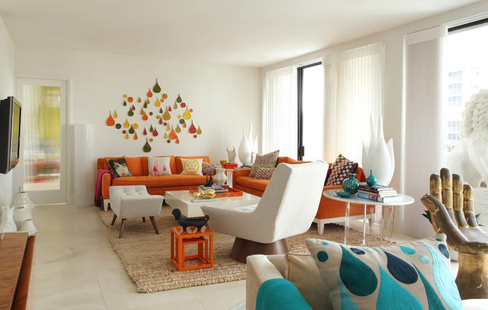غرفة جلوس مشرقة الألوان 1 8 نصائح لإستخدام الألوان المشرقة في غرفة الجلوس