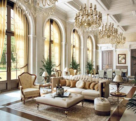 تصاميم غرف جلوس مبهرة تليق بالقصور الملكية