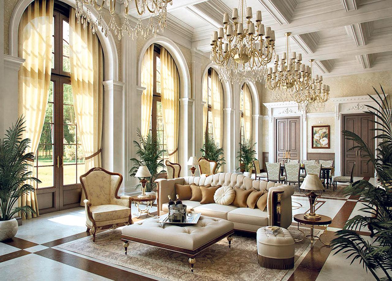 غرفة جلوس ملكية 1 تصاميم غرف جلوس مبهرة تليق بالقصور الملكية