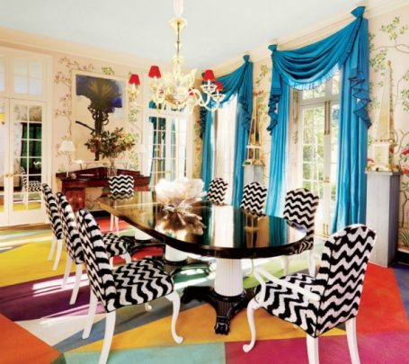 غرفة سفرة ملونة