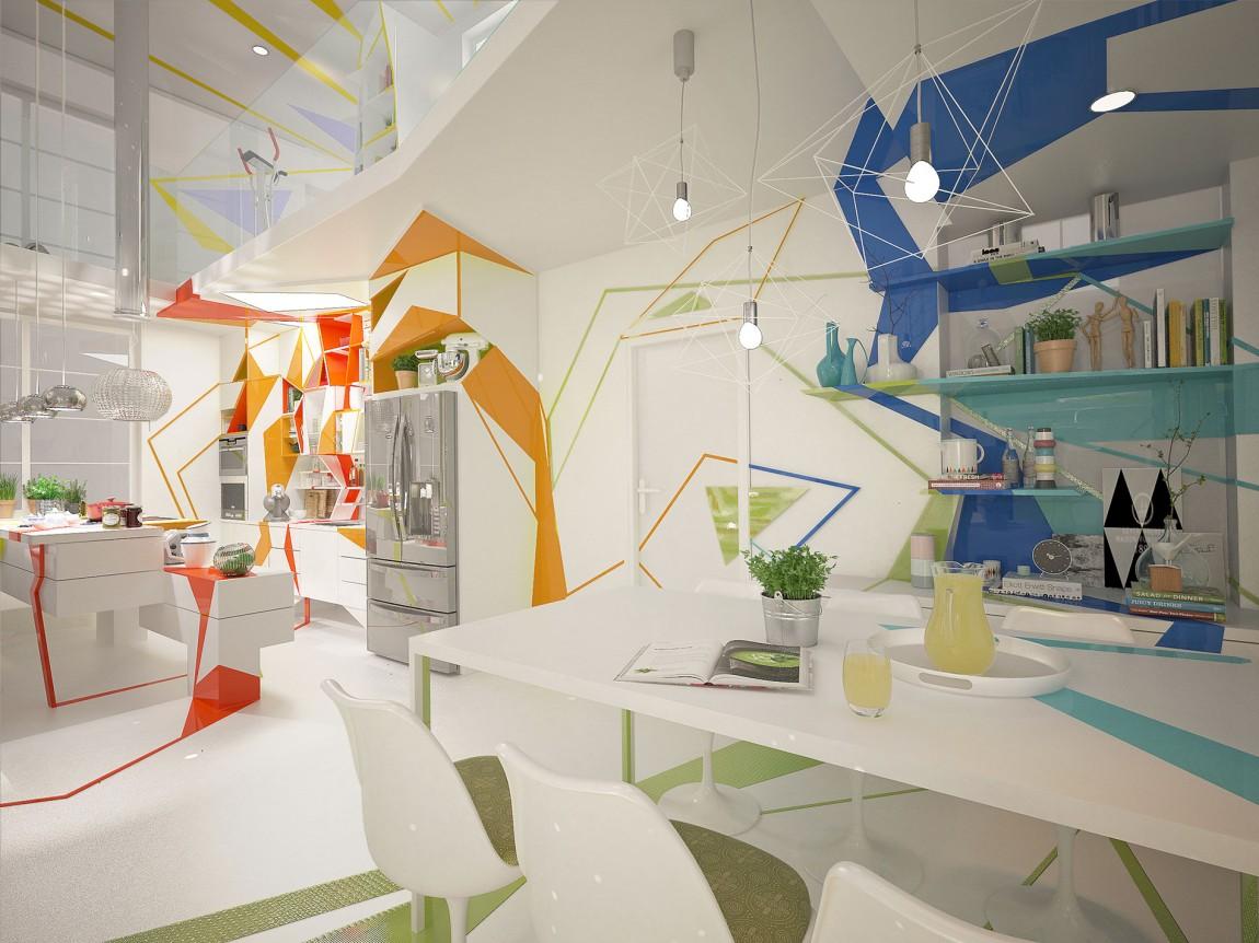 غرفة طعام بديكورات هندسية ب تصميمات منازل مدهشة بديكورات هندسية جريئة