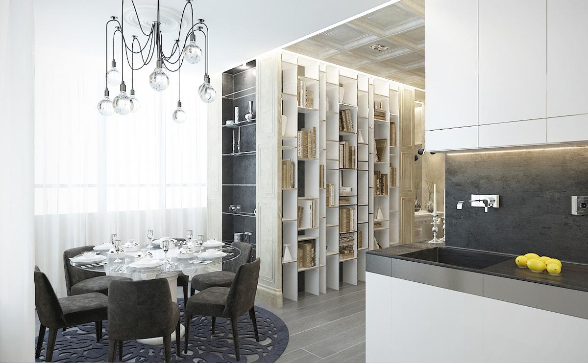 غرفة طعام عصرية 1 منزل عصري يجمع الديكور المودرن بلمسات من القصور الإغريقية