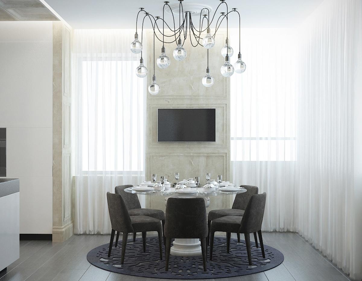 غرفة طعام عصرية 2 منزل عصري يجمع الديكور المودرن بلمسات من القصور الإغريقية