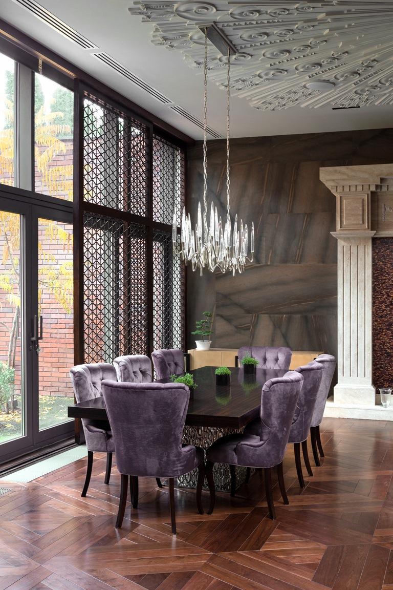 غرفة طعام فخمة 1 منزل فخم يجمع الديكور الكلاسيك والمودرن بشكل فني رائع
