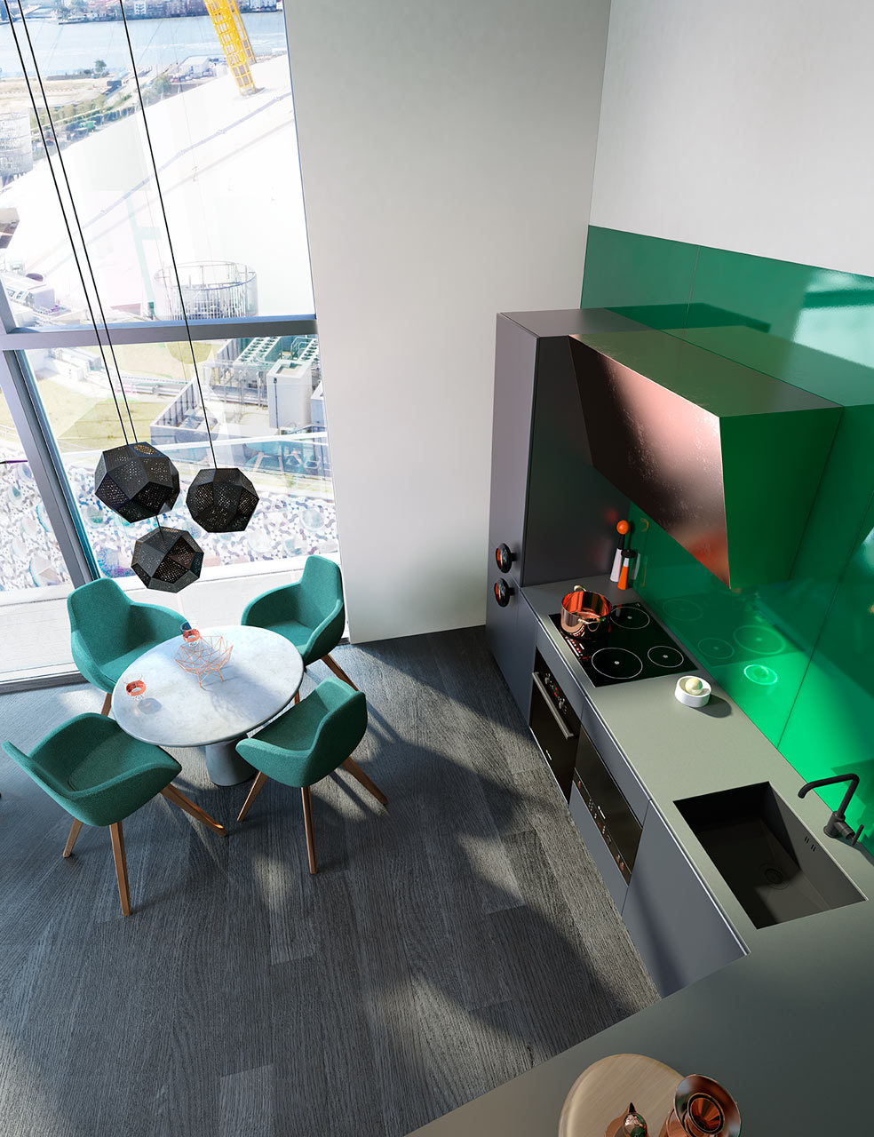 غرفة طعام ومطبخ مودرن 1ا1 جرأة وروعة الألوان في تصميم وحدات سكنية عصرية