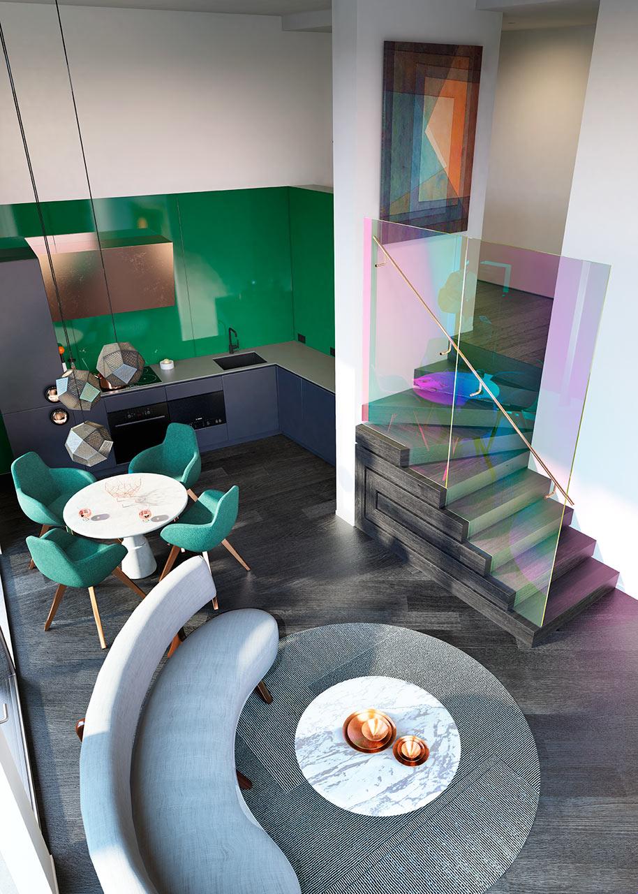 غرفة طعام ومطبخ مودرن 11 جرأة وروعة الألوان في تصميم وحدات سكنية عصرية