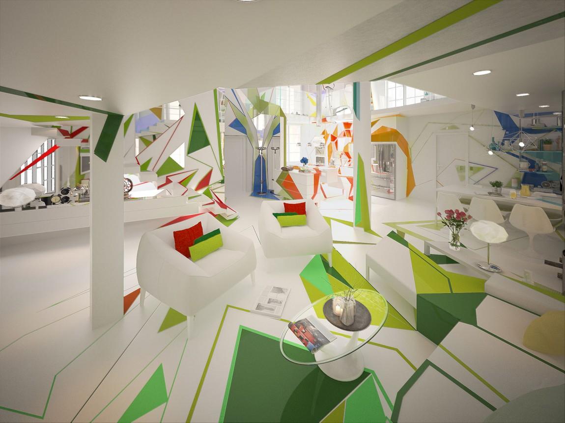 غرفة معيشة بديكورات هندسية ا تصميمات منازل مدهشة بديكورات هندسية جريئة