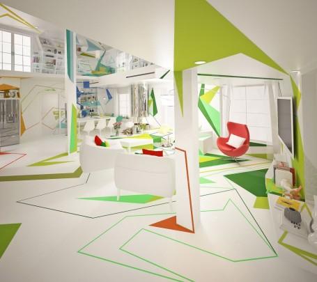 غرفة معيشة بديكورات هندسية ب