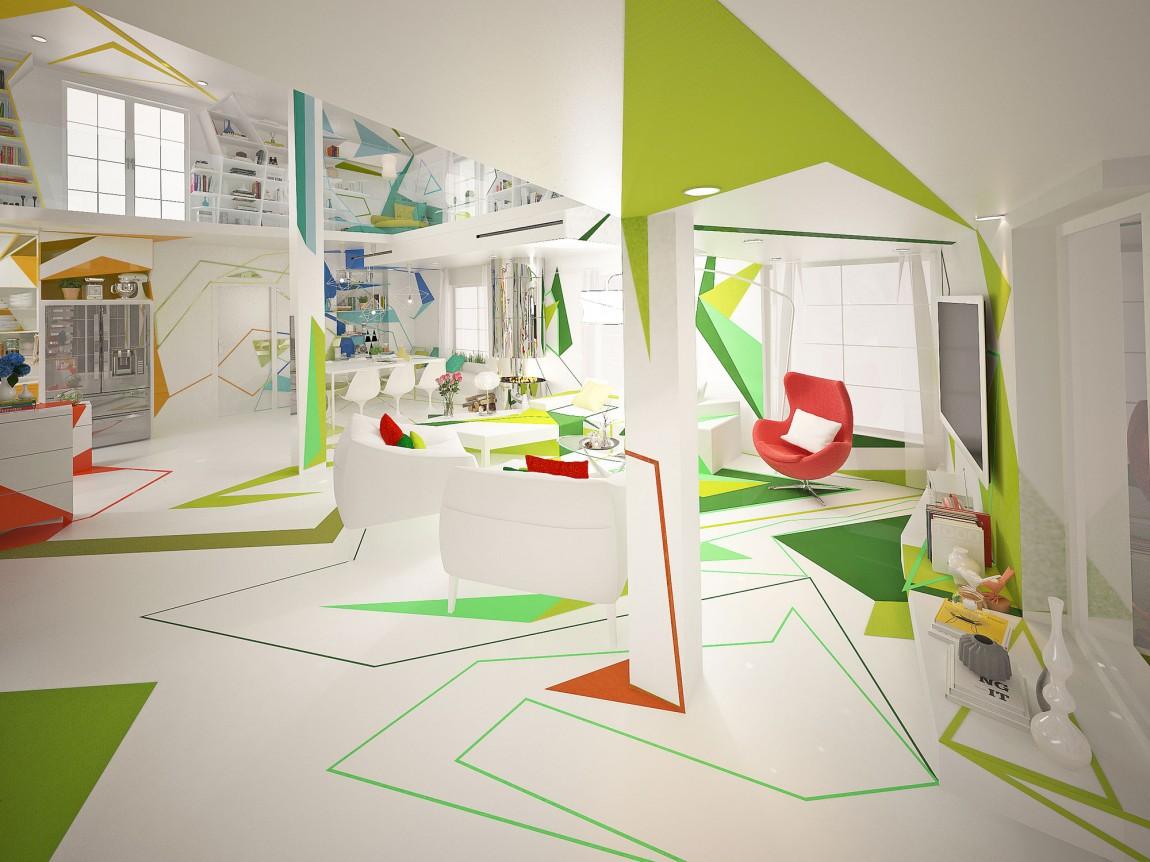 غرفة معيشة بديكورات هندسية ب تصميمات منازل مدهشة بديكورات هندسية جريئة