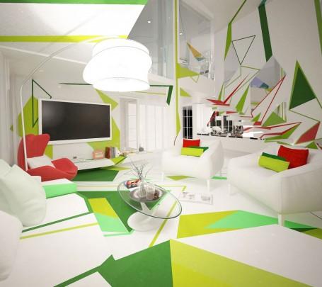 غرفة معيشة بديكورات هندسية