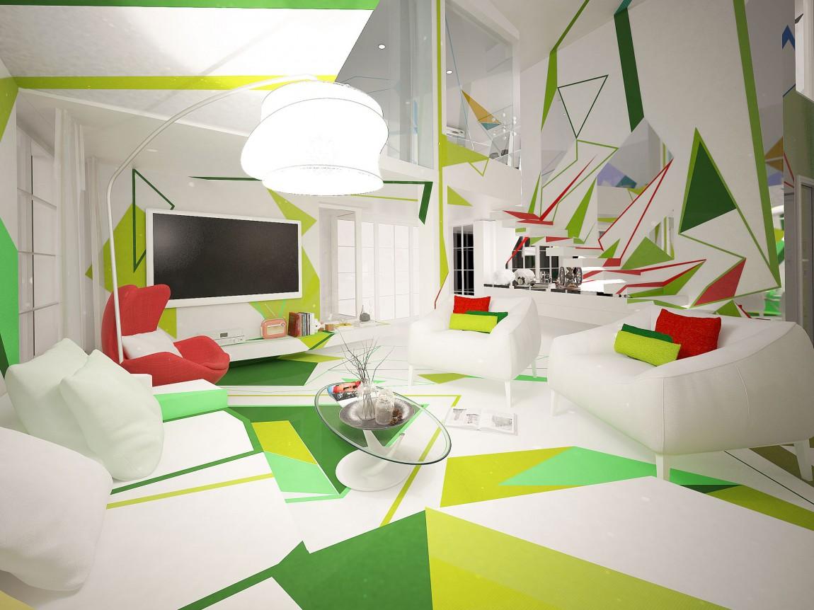 غرفة معيشة بديكورات هندسية تصميمات منازل مدهشة بديكورات هندسية جريئة