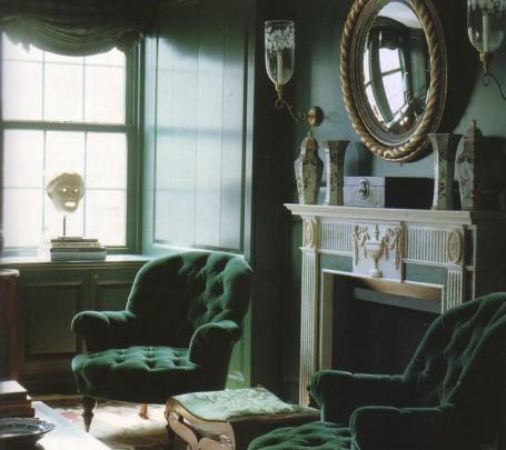 غرفة معيشة خضراء