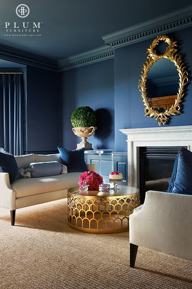 غرفة معيشة زرقاء أحدث موضات دهانات حوائط لعام 2016