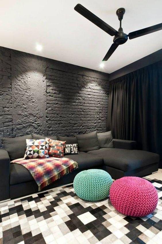 غرفة معيشة سوداء غرفة معيشة سوداء