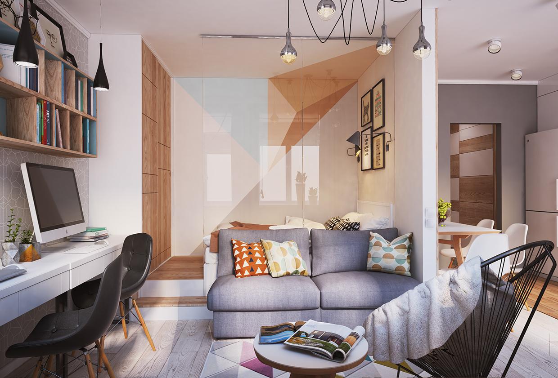 غرفة معيشة صغيرة 1ا أفكار ممتازة للمساحات الصغيرة في تصميم شقة سكنية رائعة