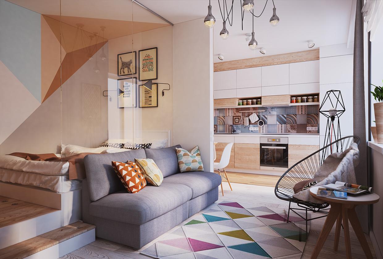 غرفة معيشة صغيرة 1 أفكار ممتازة للمساحات الصغيرة في تصميم شقة سكنية رائعة