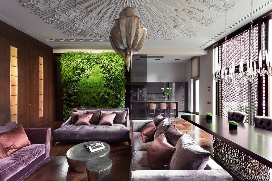غرفة معيشة فخمة 2 منزل فخم يجمع الديكور الكلاسيك والمودرن بشكل فني رائع